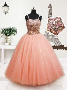 Popular Sequins Floor Length Peach Pageant Gowns For Girls Straps Sleeveless Zipper