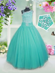 Sleeveless Zipper Floor Length Beading Pageant Dress for Girls