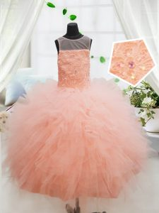 High Quality Peach Ball Gowns Tulle Scoop Sleeveless Beading and Lace and Ruffles Floor Length Zipper Pageant Dress Toddler