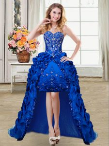 High Class Pick Ups Ball Gowns Pageant Dress Royal Blue Sweetheart Taffeta Sleeveless High Low Lace Up