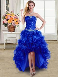 Classical Beading and Ruffles Pageant Dress Royal Blue Lace Up Sleeveless High Low