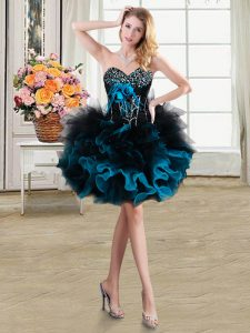 Custom Fit Blue And Black Column/Sheath Organza and Tulle Sweetheart Sleeveless Beading and Ruffles and Hand Made Flower Mini Length Lace Up Pageant Dress for Girls
