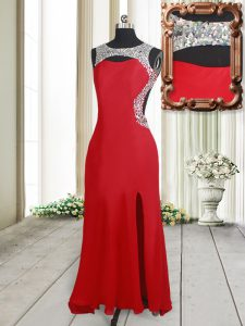Glamorous Red Scoop Neckline Beading Pageant Dress Toddler Sleeveless Backless