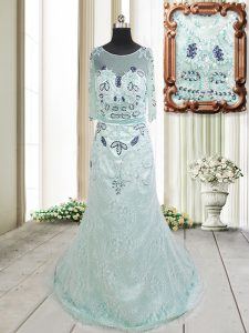 Spectacular Apple Green Scoop Zipper Beading and Lace Winning Pageant Gowns Brush Train Half Sleeves