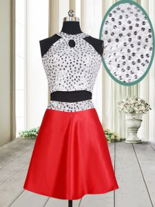 Sweet Halter Top White And Red A-line Beading Pageant Dress for Womens Criss Cross Satin Sleeveless Mini Length