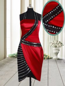 Latest Halter Top Beading Pageant Gowns Red And Black Side Zipper Sleeveless Knee Length