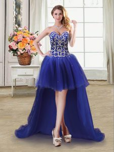 Sleeveless Lace Up High Low Beading and Sequins Pageant Dresses