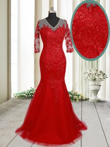 Traditional Mermaid With Train Red Pageant Dress Toddler V-neck Half Sleeves Brush Train Clasp Handle