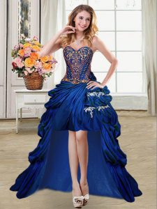 Royal Blue Ball Gowns Sweetheart Sleeveless Taffeta High Low Lace Up Beading and Appliques and Pick Ups Pageant Dress for Teens