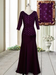 Fabulous Dark Purple Zipper Pageant Dress Womens Beading and Lace and Hand Made Flower Half Sleeves Floor Length
