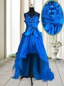 Fine Royal Blue Organza Zipper Pageant Dress for Teens Sleeveless High Low Beading and Appliques and Bowknot