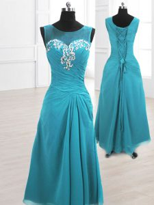 A-line High School Pageant Dress Teal Scoop Chiffon Sleeveless Floor Length Lace Up