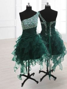 Fitting One Shoulder Sleeveless Lace Up Pageant Dress for Girls Peacock Green Organza