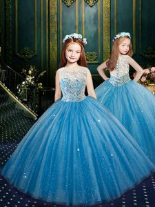 Blue Ball Gowns Tulle Scoop Sleeveless Appliques Floor Length Clasp Handle Child Pageant Dress