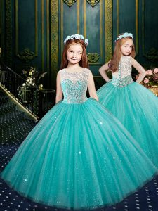 Scoop Blue Sleeveless Floor Length Appliques Clasp Handle Pageant Dress for Girls