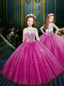 Admirable Scoop Beading and Appliques Kids Pageant Dress Eggplant Purple Clasp Handle Sleeveless Floor Length