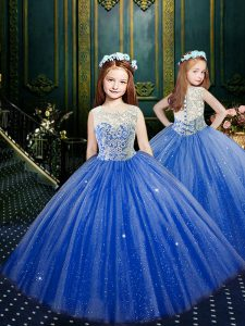 Scoop Sleeveless Tulle Floor Length Clasp Handle Little Girls Pageant Dress Wholesale in Blue with Appliques