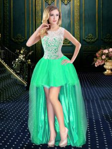 Superior Scoop Clasp Handle Turquoise Sleeveless Beading High Low Custom Made Pageant Dress