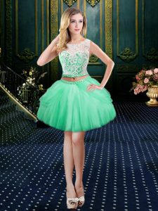 Dazzling Scoop Apple Green Ball Gowns Lace Custom Made Pageant Dress Clasp Handle Tulle Sleeveless Mini Length