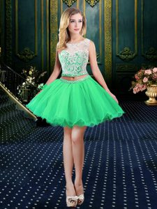 Simple Scoop Lace Up Pageant Dress Wholesale Beading and Lace and Appliques Sleeveless Mini Length