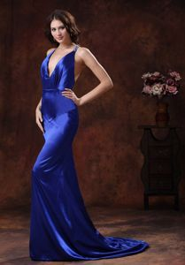 Halter Mermaid Brush Train Royal Blue Beauty Pageants Dress in Greenville