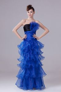 Royal Blue Ruched Handmade Flowers Prom Pageant Dresses with Ruffles