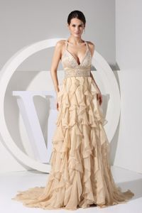 Embroidered and Ruffled Champagne Beaded Straps Interview Pageant Dress