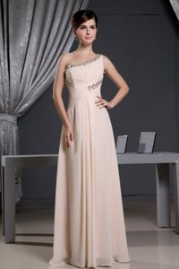 One Shoulder Baby Pink Beading Chiffon Prom Pageants Dress in Vermont