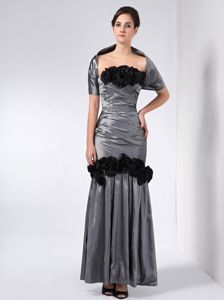 Taffeta Handmade Flowers Grey Miss Universe Pageant Dress in Vermont