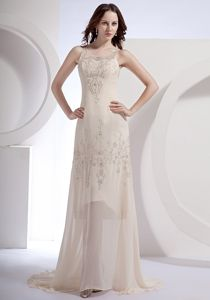 Clearance Brush Train Scoop Neck Champagne Pageant Dress with Beading