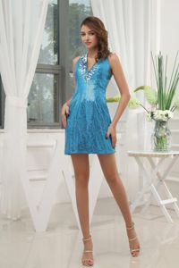 Sexy V-neck Sequin Baby Blue Mini Beauty Pageant Dresses with Paillette