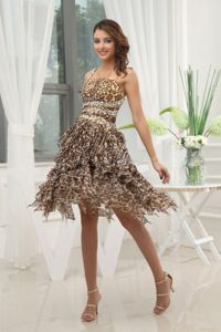 Leopard Print Beaded Miss Universe Pageant Dress with Asymmetrical Hem