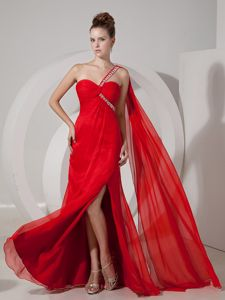 Watteau Train Slitted Red Beauty Pageant Dresses in Kuwait One Shoulder