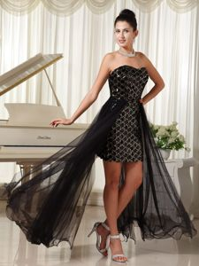 Black High-low Prom Pageant Dresses in Toledo Illinois with Rhinestones