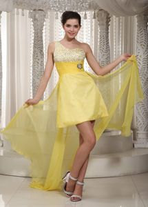 One Shoulder Beaded High-low Yellow Pageant Dresses for Miss USA