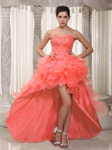 Newest High-low Ruffled Beaded Watermelon Red Pageant Dress for Girls