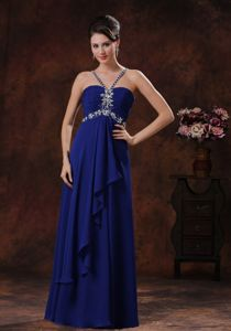 Straps Beaded Royal Blue Beauty Pageant Dresses in Bar Nunn Wyoming
