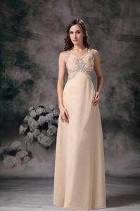 Cool Back Beaded Champagne Long Pageant Dresses for Miss World