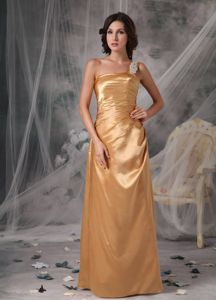 Recommended One Shoulder Gold Prom Pageant Dresses Floor-length