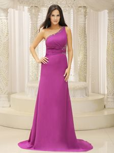 Top One Shoulder Fuchsia Brush Train Dresses for Pageants in NJ USA