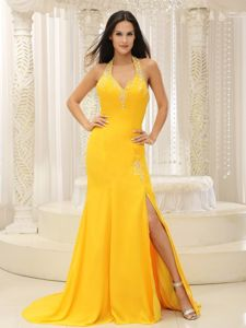 Halter Backless Beaded Slitted Yellow Pageant Dress for Miss World