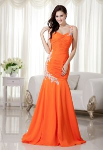 Perfect One Shoulder Appliqued Orange Mermaid Pageant Dress for Beauty