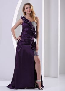 One Shoulder Beaded Slitted Dark Purple Prom Pageant Dresses for Sale