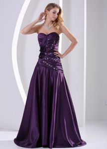 Ruched A-line Eggplant Purple Miss Universe Pageant Dress with Flowers