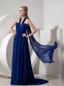 Halter Watteau Train Royal Blue Chiffon Pageant Dress in The Mainstream