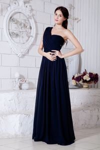 Simple One Shoulder Navy Blue Floor-length Prom Pageant Dress Clearance
