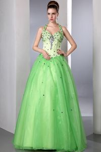 A-line Halter Beaded Spring Green Long Dresses for Pageants in NJ USA