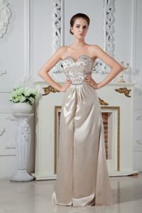Cool Back Champagne Pageant Dress with Rhinestones in South Carolina