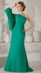 Turquoise Chiffon Long Pageant Dresses for Girls with Single Long Sleeve