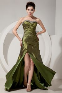 Popular Slitted Beaded Olive Green Long Interview Pageant Suits for Girls